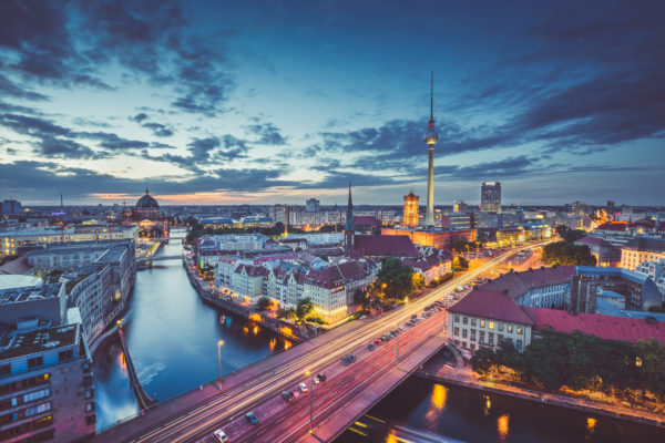 Berlin evening skyline
