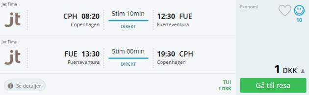 Copenhagen to Fuerteventura