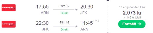 Stockholm to JFK
