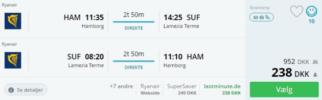Hamburg to Calabrien