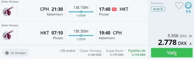 Copenhagen to Phuket