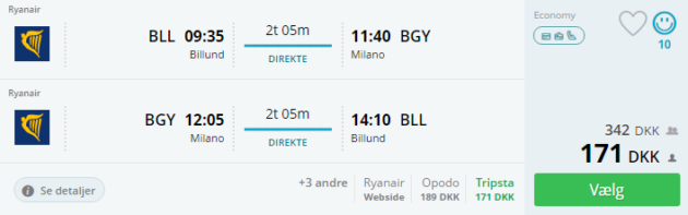 Flight Billund Milan