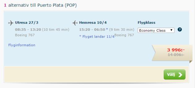 Flight to Puerto Plata