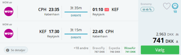 Copenhagen to Reykjavik
