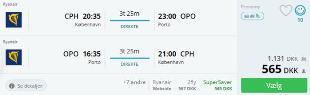 Flights Copenhagen Porto