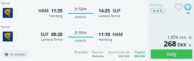 Hamburg to Lamezia Terme