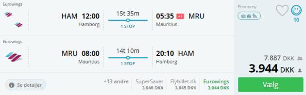 Hamburg Mauritius Flight