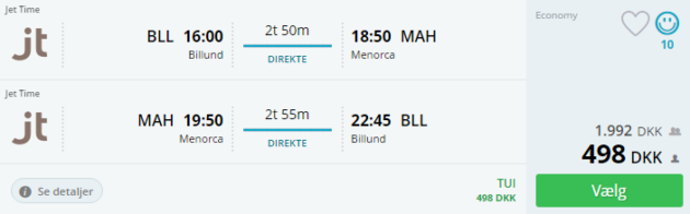Billund to Menorca