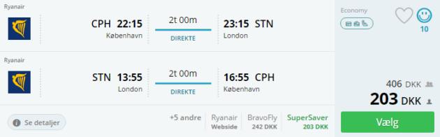 Flight Copenhagen London