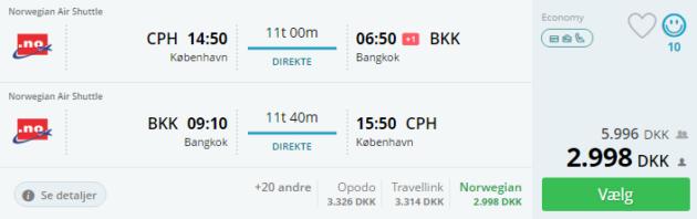 Copenhagen to Bangkok