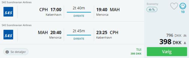 Flight to Menorca
