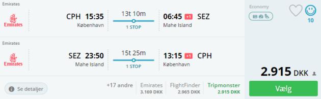 Copenhagen to Mahe