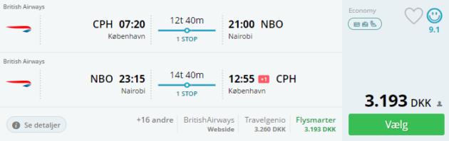 Copenhagen to Nairobi