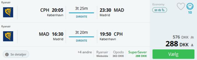 Flight Copenhagen Madrid
