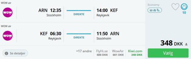 Flight Stockholm Reykjavik