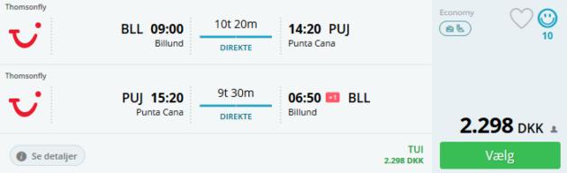 Flight Billund Punta Cana
