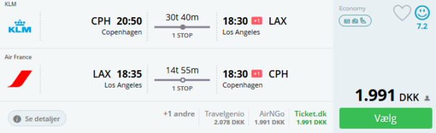 Flight Copenhagen Los Angeles