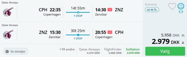 Flight Copenhagen Zanzibar