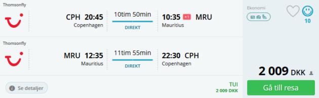 Flight Copenhagen Mauritius