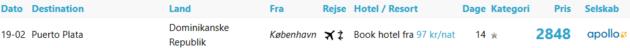 Flight Copenhagen Puerto Plata