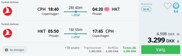 Flight Copenhagen Phuket